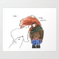 Windy, Isn't It, Bear? Art Print