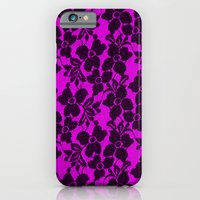 Black lace on pink iPhone 6 Slim Case