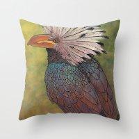 White Crested Hornbill Throw Pillow
