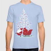 Happy Santa Mens Fitted Tee Tri-Blue SMALL