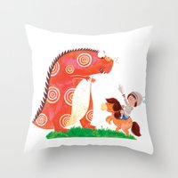 Knight vs Monster Throw Pillow