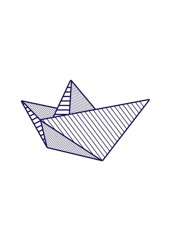 Fune, navy lines Art Print