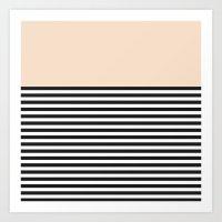 STRIPE COLORBLOCK {CREAM} Art Print