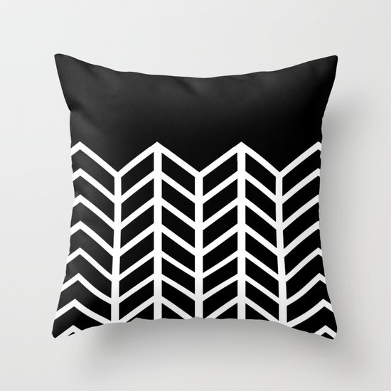 BLACK LACE CHEVRON Throw Pillow