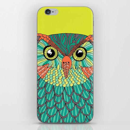 owl - Lime green iPhone & iPod Skin