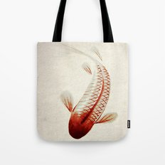 Red and Silver Koi Tote Bag