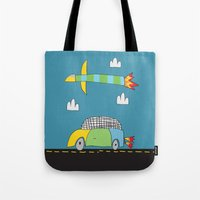 Car Plane Clouds Tote Bag