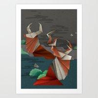 Origami Deer Art Print