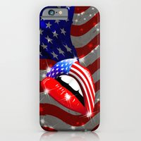 USA Flag Lipstick on Sensual Lips iPhone 6 Slim Case
