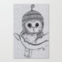 Bobble Hat Owl Canvas Print
