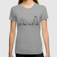 T-Rex and Pal Womens Fitted Tee Tri-Grey SMALL