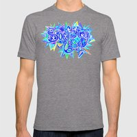 S6 TEE Aqua Blue surf Zentangle Mens Fitted Tee Tri-Grey SMALL