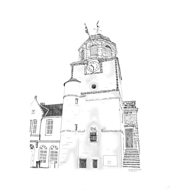 Tollbooth on Dysart High Street, Fife in Scotland Art Print