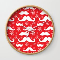 Mustaches and Snowflakes Wall Clock