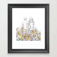 Holding Hands (3D papercut) Framed Art Print