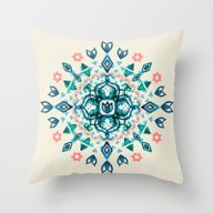 Watercolor Lotus Mandala… Throw Pillow