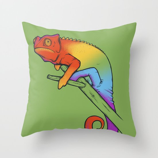 Confused chameleon Throw Pillow