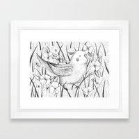 Cockatiel in Grass Framed Art Print
