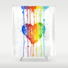 Heart Rainbow Watercolor | Love Wins Shower Curtain