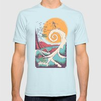 Surf Before Christmas Mens Fitted Tee Light Blue SMALL
