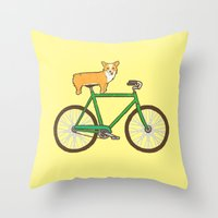 Corgi on a bike Throw Pillow