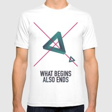WHAT BEGINS ALSO ENDS White Mens Fitted Tee SMALL