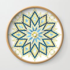 Marble and Gold Pattern in Blue Wall Clock