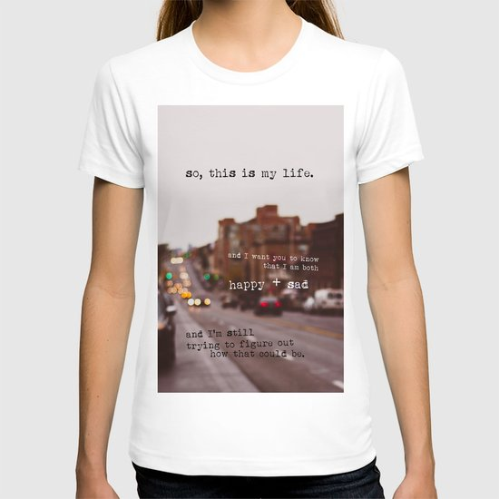 perks of being a wallflower - happy + sad T-shirt