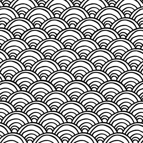 Waves All Over - Black and White Art Print