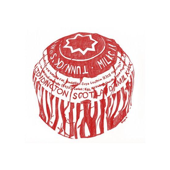 Tea Cake pen drawing (red) Art Print