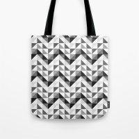 Chevron Facet Black & White Tote Bag