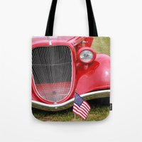 Red American Truck Tote Bag
