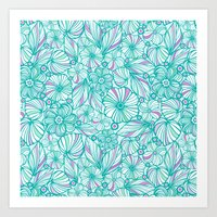 My Turquoise Flowers Art Print