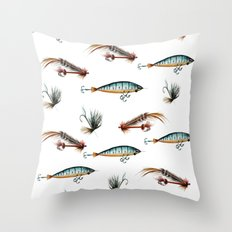 Vintage Fishing Lures -w… Throw Pillow