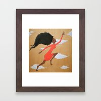 Floating Fro Woman Framed Art Print