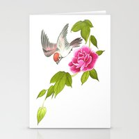 sparrow and peony Stationery Cards