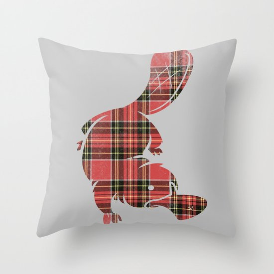 Plaidapus delux Throw Pillow