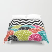 Tropical Flowers Chevron Duvet Cover