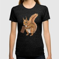 Super Squirrel. Womens Fitted Tee Tri-Black SMALL