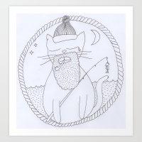 Cat fisherman Art Print