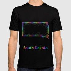Rainbow South Dakota map Mens Fitted Tee Black SMALL