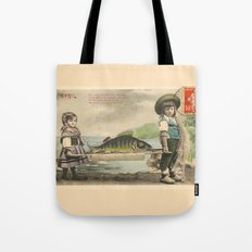 The April Fish - Vintage / Antique French Post Card - Piosson D'Avril - April Fools Day Tote Bag