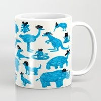 Blue Animals Black Hats Mug