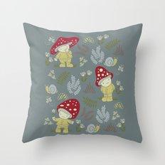 Melancholy Mushrooms Throw Pillow