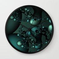 Splash of Pearls Fractal Wall Clock