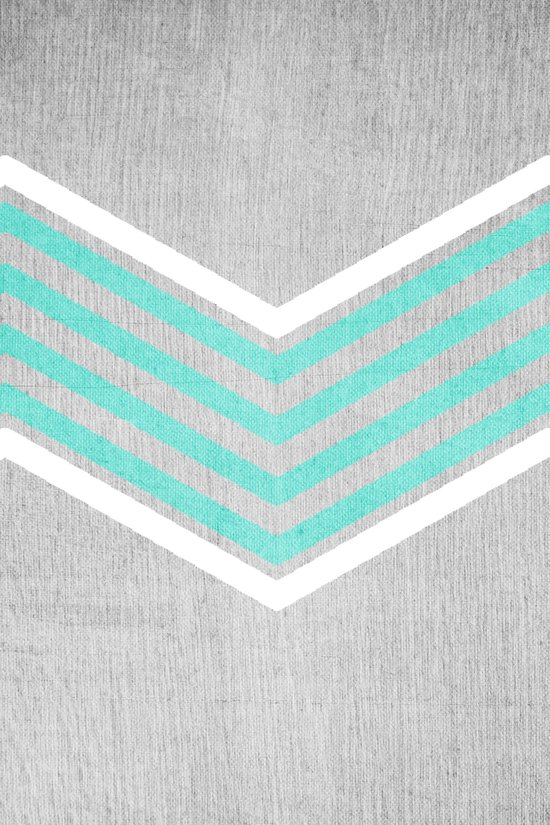 Teal and White Chevron on Silver Grey Wood Art Print
