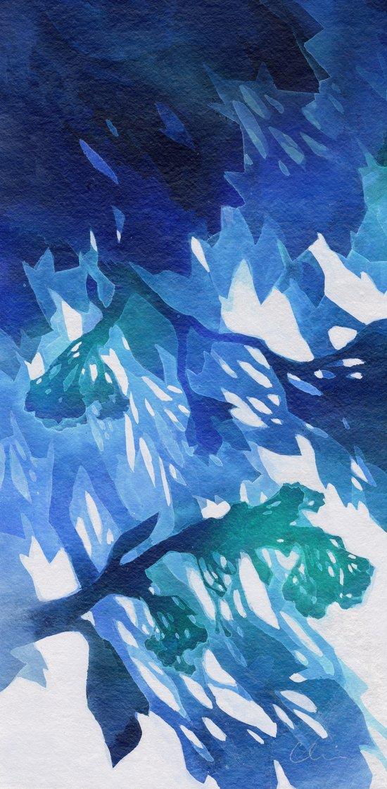Morning Blossoms 2 - Blue Variation Art Print