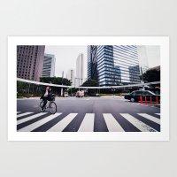Bicycle Commute in Tokyo Art Print