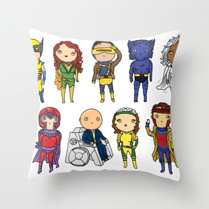 Super Cute Heroes: X-Men Throw Pillow by Kayla Dolby Society6