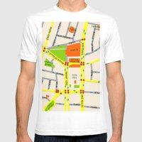Tel Aviv map design - written in Hebrew Mens Fitted Tee White SMALL